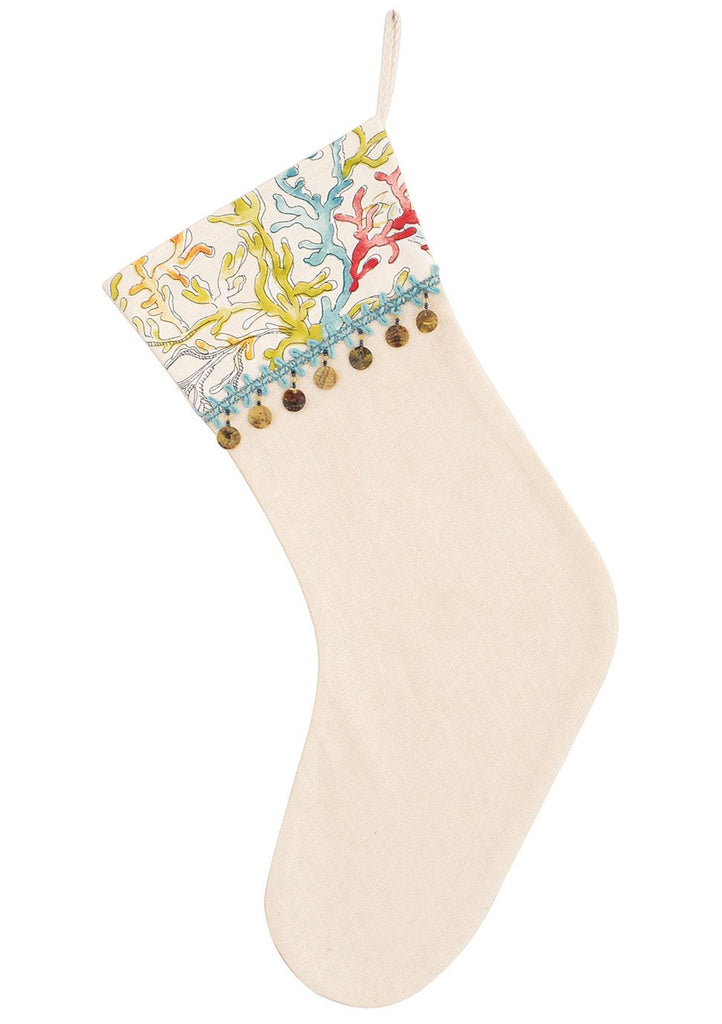 Shell Fringe Coastal Christmas Stocking