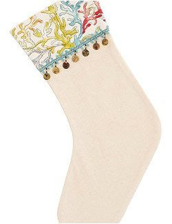 Shell Fringe Coastal Christmas Stocking - Nautical Luxuries