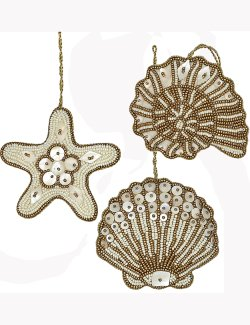 Heirloom Hand-Beaded 6-Pc. Seashell Ornament Set - Golden Dunes - Nautical Luxuries