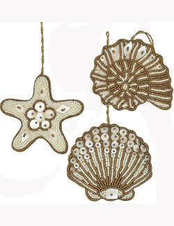 Heirloom Hand-Beaded 6-Pc. Seashell Ornament Set - Golden Dunes