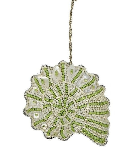 Heirloom Hand-Beaded 6-Pc. Seashell Ornament Set - Sea Kelp Green