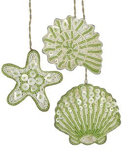Heirloom Hand-Beaded 6-Pc. Seashell Ornament Set - Sea Kelp Green - Nautical Luxuries