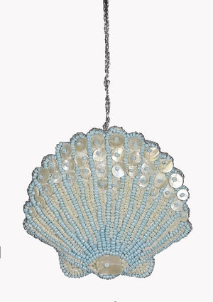 Heirloom Hand-Beaded 6-Pc. Seashell Ornament Set - Arctic Ice Blue - Nautical Luxuries