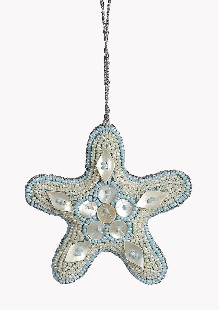 Heirloom Hand-Beaded 6-Pc. Seashell Ornament Set - Arctic Ice Blue