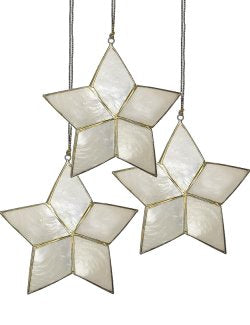 Shimmering Capiz Shell Five-Point Starfish 12-Pc. Ornament Set - Nautical Luxuries