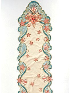 Atlantis Treasures Embroidered Table Runner - Nautical Luxuries