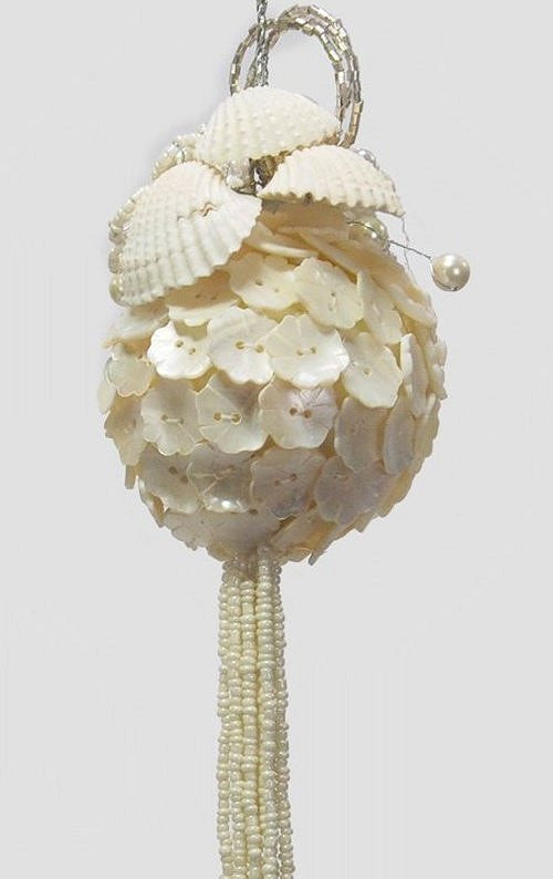 Vintage Pearly White Beaded Ornament Set