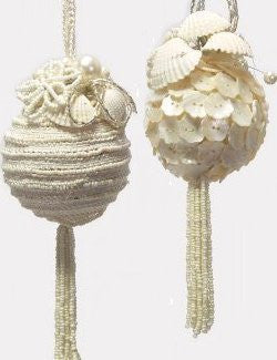 Vintage Pearly White Beaded 4-Pc. Ornament Set - Nautical Luxuries