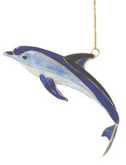 Cloisonné Enamel Blue Dolphin Ornament Set