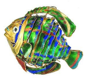 Cloisonne Enamel Articulated Tropical Reef Fish Ornament Set - Nautical Luxuries