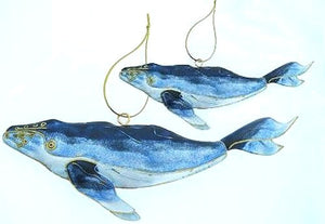 Cloisonné Enamel Mother & Calf Whale Ornament Set - Nautical Luxuries