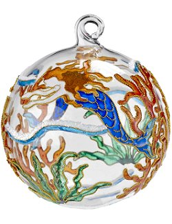 Swimming Mermaid Cloisonné 2-Pc. Glass Ornament Set - Nautical Luxuries