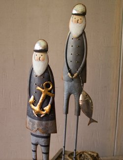 Salty Santas Metal Large Sculpture Set