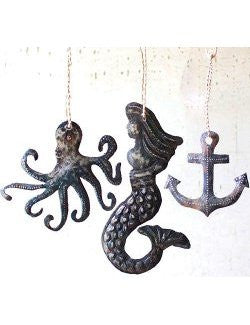 Rustic Sea Creatures Ornament Set