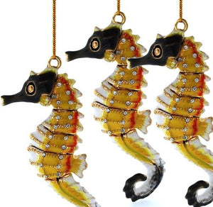 Regal Sentries Cloisonne Seahorse Ornaments - Nautical Luxuries