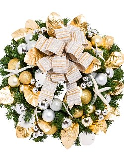 Yacht Silks Luxury Sandy Shores Starfish Indoor/Outdoor Holiday Wreath - Nautical Luxuries