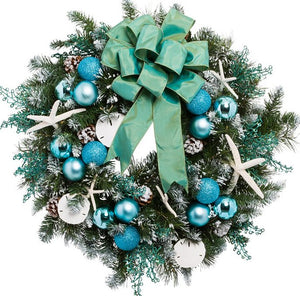 Yacht Silks Luxury Aqua Starfish Indoor/Outdoor Holiday Wreath - Nautical Luxuries