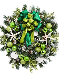 Yacht Silks Luxury Sea Green Starfish Indoor/Outdoor Holiday Wreath - Nautical Luxuries