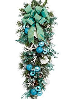 Yacht Silks Luxury Aqua Starfish Holiday Door/Wall Bough - Nautical Luxuries