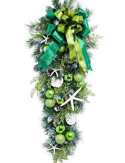 Yacht Silks Luxury Sea Green Starfish Holiday Door/Wall Bough - Nautical Luxuries