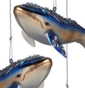 Majestic Blue Whale Glass Ornament Set - Nautical Luxuries