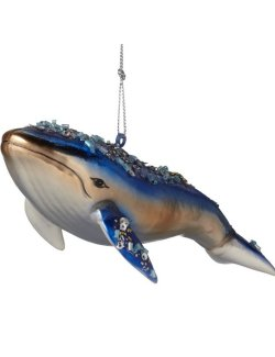 Majestic Blue Whale Glass Ornament Set