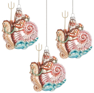 Riding The Waves Glass 3-Pc. Ornament Set - Nautical Luxuries