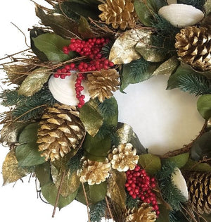 Golden Shores Preserved Holiday Wreath - Nautical Luxuries