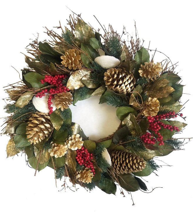 Golden Shores Preserved Holiday Wreath
