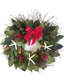 Holiday Starfish Preserved Coastal Wreath