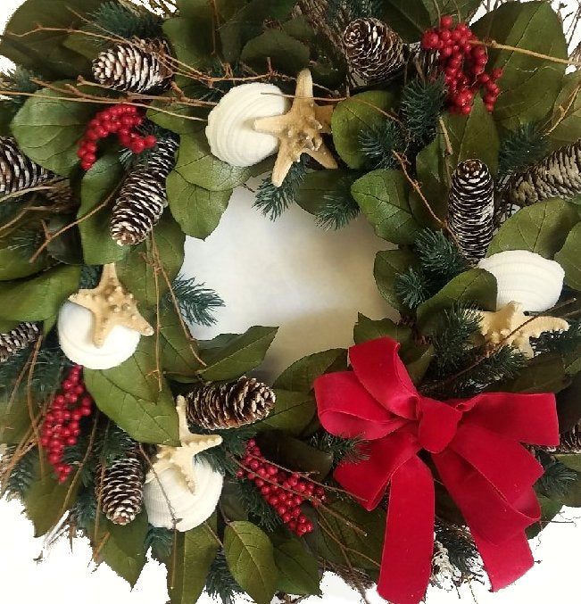 Yuletide Ocean Bounty Preserved Coastal Wreath - Nautical Luxuries