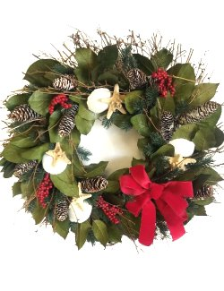 Yuletide Ocean Bounty Preserved Coastal Wreath