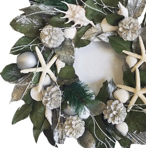 Silver Seashore Preserved Coastal Wreath - Nautical Luxuries