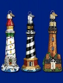 Blown Glass Lighthouse 6-Pc. Ornament Set - Nautical Luxuries