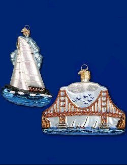 Sailing San Francisco Blown Glass Ornaments - Nautical Luxuries