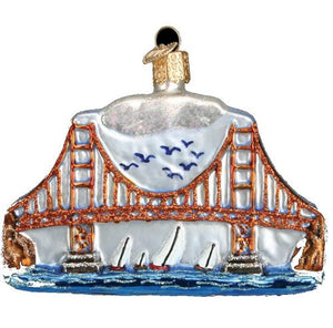 Sailing San Francisco Blown Glass 4-Pc. Ornament Set - Nautical Luxuries