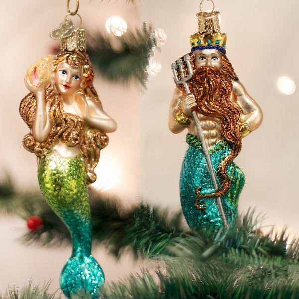 King Neptune & Mermaid Blown Glass Ornaments