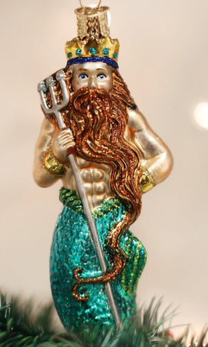 King Neptune & Mermaid Blown Glass Ornaments - Nautical Luxuries