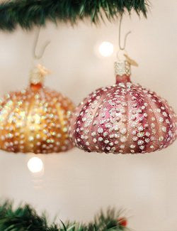 Sparkling Sea Urchins Glass Ornament Set