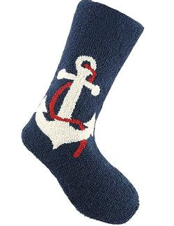 Holiday Anchor Hooked Wool Christmas Stocking