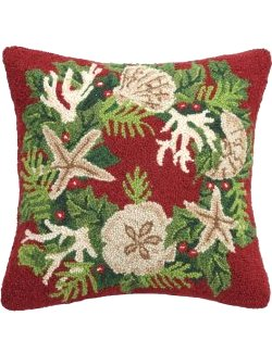 Festive Coastal Wreath Hooked Wool Accent Pillow