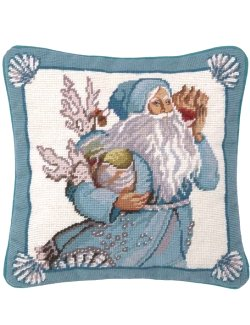 Seashells Santa Needlepoint Accent Pillow - Nautical Luxuries