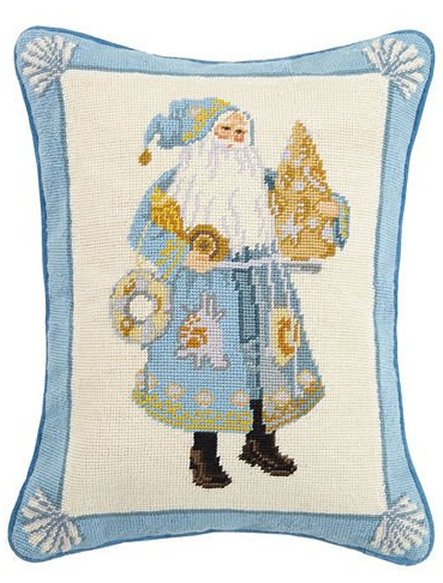 Santa's Sea Tree Needlepoint Accent Pillow