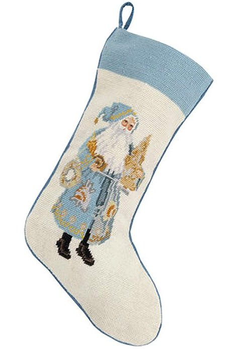 Santa's Sea Tree Needlepoint Christmas Stocking - Nautical Luxuries