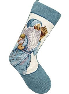 Seashells Santa Needlepoint Christmas Stocking
