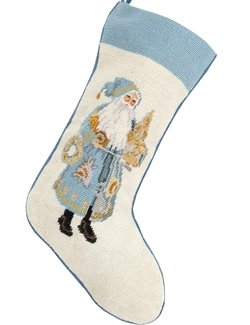 Santa's Sea Tree Needlepoint Christmas Stocking