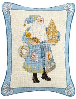 Santa's Sea Tree Needlepoint Accent Pillow - Nautical Luxuries