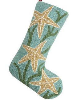 Holiday Starfish Hooked Wool Stocking