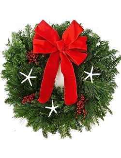 Christmas Star Fresh Coastal Holiday Wreath - Nautical Luxuries