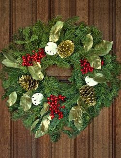 Nantucket Island Fresh Noble Fir Coastal Holiday Wreath
